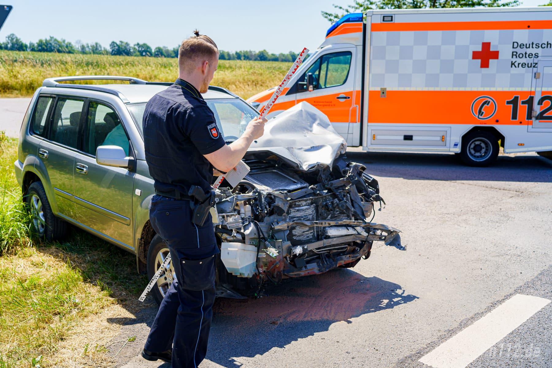Der Verursacher erlitt einen Schock, wurde aber sonst nicht verletzt (Foto: n112.de/Stefan Simonsen)