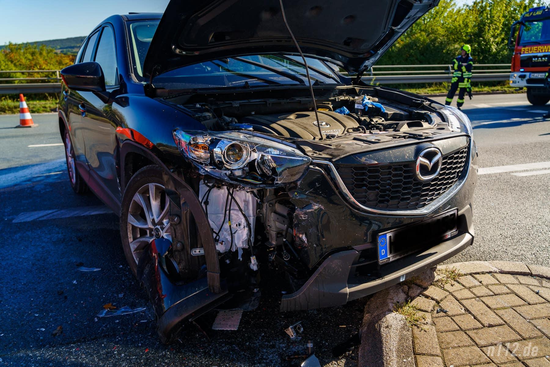 Verhältnismäßig gering beschädigt: Das SUV des Verursachers (Foto: n112.de/Stefan Simonsen)