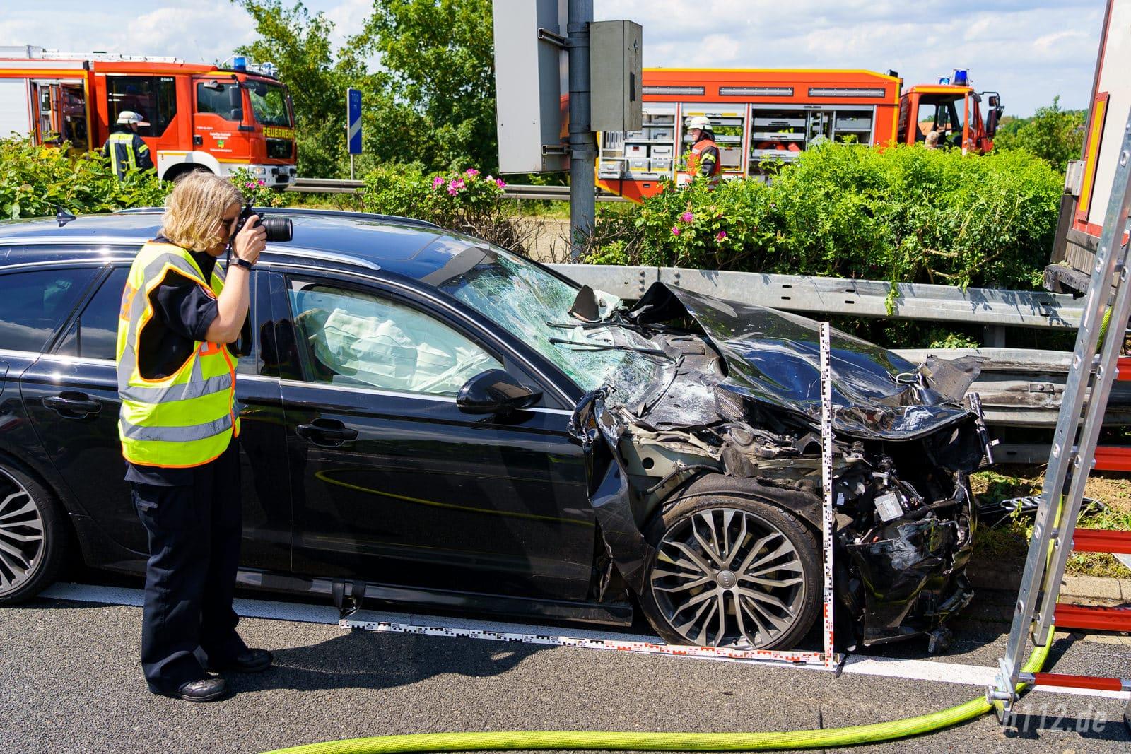 Die Sicherheitssysteme des Audi bewahrten die Insassen vor Verletzungen (Foto: n112.de/Stefan Hillen)